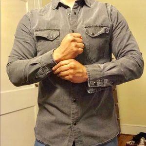 Zara Man Grey Snap-Front Shirt